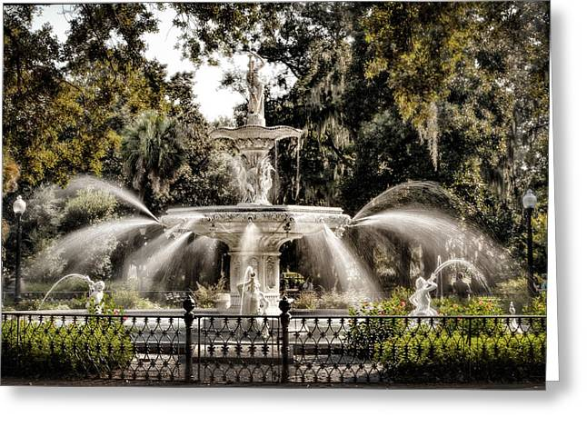 Forsythe Fountain Savannah Greeting Card by Diana Powell