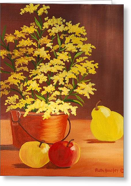 Forsythia Flowers And Fruit Sold Greeting Card by Ruth  Housley