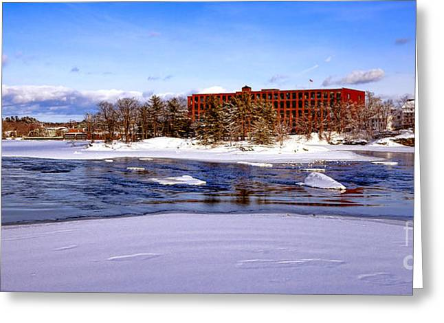 Fort Andross Mill And Androscoggin River In Winter  Greeting Card by Olivier Le Queinec
