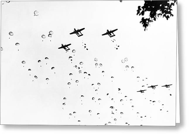Fort Bragg Paratroopers Greeting Card by Underwood Archives