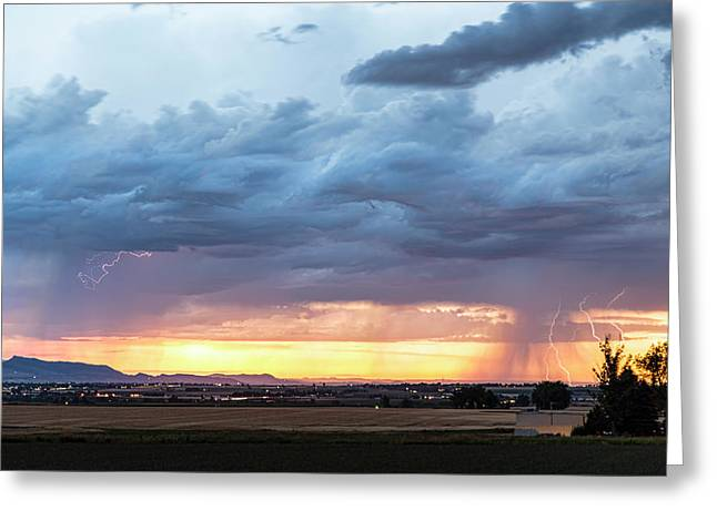 Fort Collins Colorado Sunset Lightning Storm Greeting Card by James BO Insogna