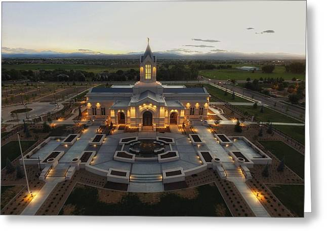 Fort Collins Glow    Lds Temple Greeting Card by David Zinkand