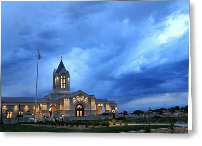 Fort Collins Lds Temple Blue Clouds Greeting Card by David Zinkand