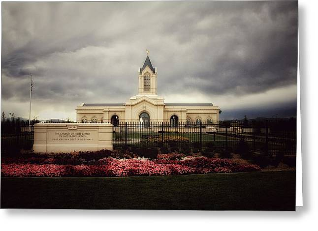 Fort Collins Lds Temple East Side Greeting Card by David Zinkand