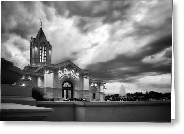 Fort Collins Lds Temple Se Corner Bw Greeting Card by David Zinkand