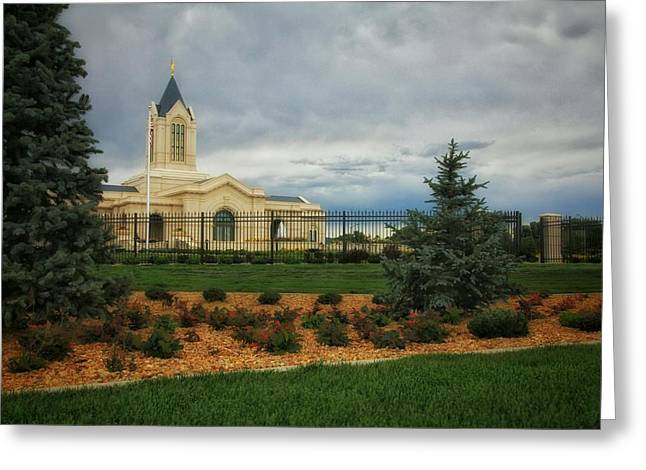 Fort Collins Lds Temple Se Landscape Side Greeting Card by David Zinkand
