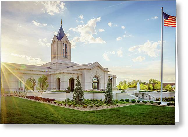 Fort Collins Temple Greeting Card by Bruce Tracy