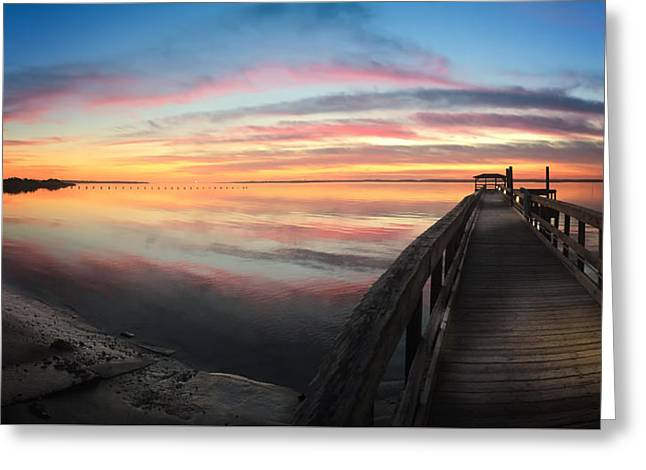 Fort Fisher Sunset Reverie With Heron Greeting Card