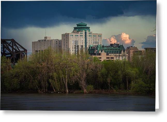 Fort Garry Hotel/fort Garry Place Greeting Card by Bryan Scott