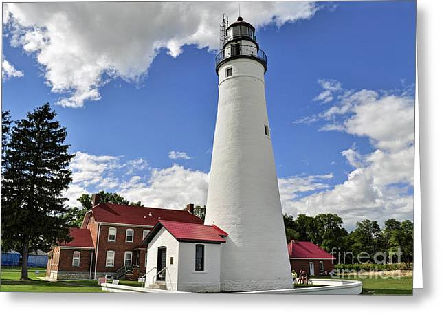 Fort Gratiot Light Greeting Card by Rodney Campbell