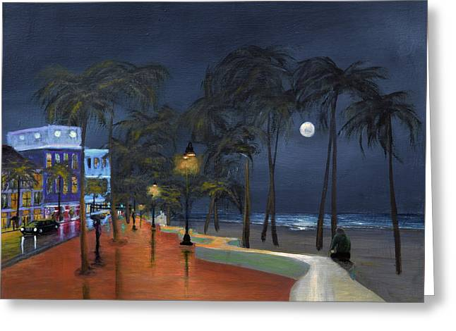 Fort Lauderdale Beach At Night Greeting Card