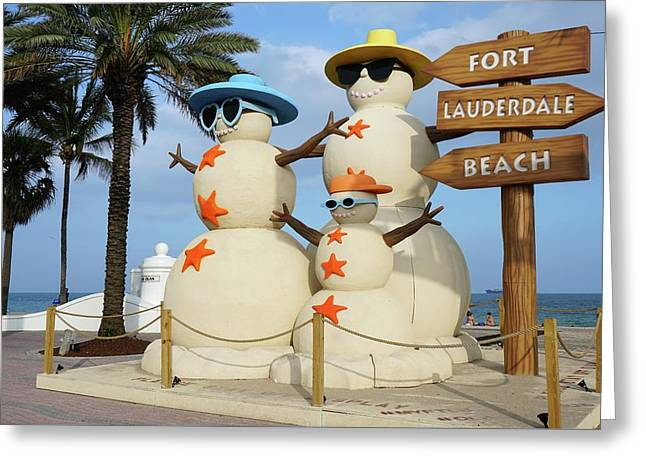 Fort Lauderdale Snowman Greeting Card by Jason Pepe