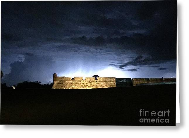 Lightening At Castillo De San Marco Greeting Card