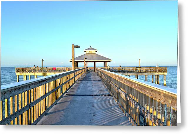 Greeting Card featuring the photograph Fort Myers Beach Florida Fishing Pier by Timothy Lowry