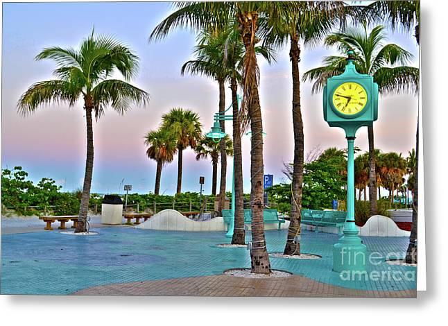 Fort Myers Beach Times Square 1 Greeting Card by Timothy Lowry
