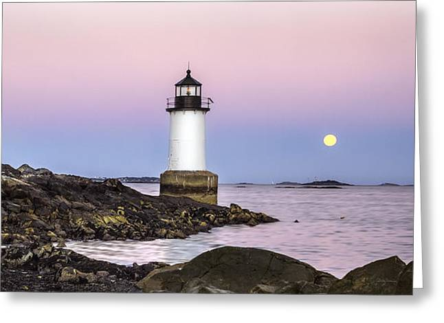 Fort Pickering Lighthouse, Harvest Supermoon, Salem, Ma Greeting Card