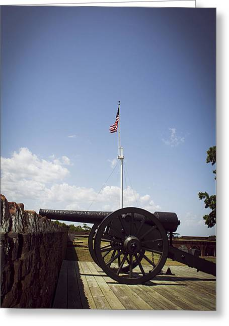 Fort Pulaski Cannon And Flag Greeting Card by Chrystal Mimbs