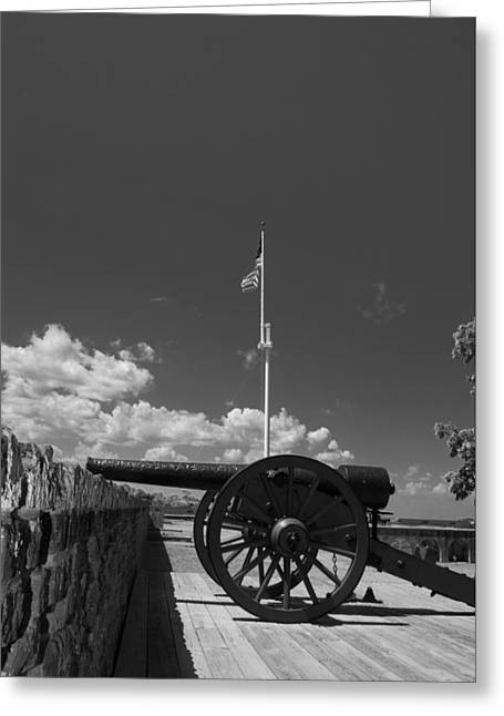 Fort Pulaski Cannon And Flag In Black And White Greeting Card by Chrystal Mimbs