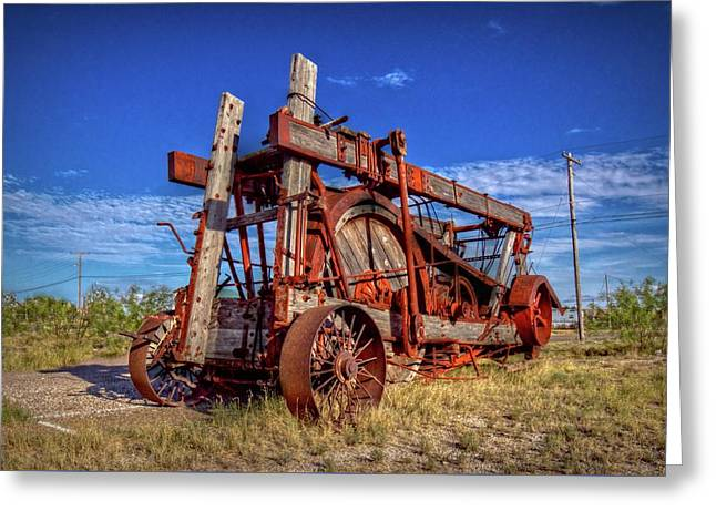 Fort Stockton Contraption Greeting Card by Linda Unger
