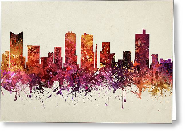 Fort Worth Cityscape 09 Greeting Card by Aged Pixel
