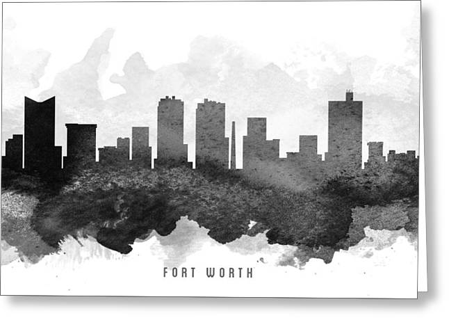 Fort Worth Cityscape 11 Greeting Card by Aged Pixel