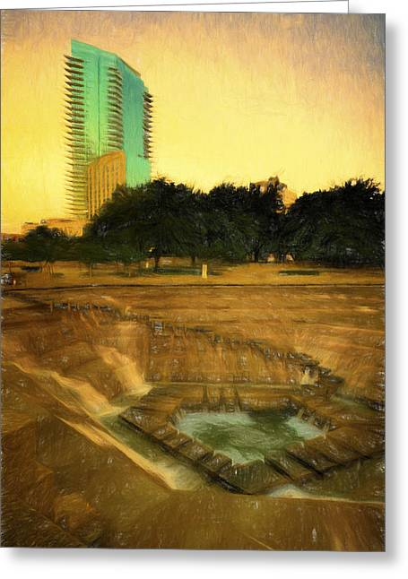 Fort Worth Impressions Water Gardens II Greeting Card by Joan Carroll