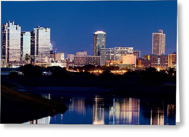 Fort Worth Skyline At Night Poster Greeting Card