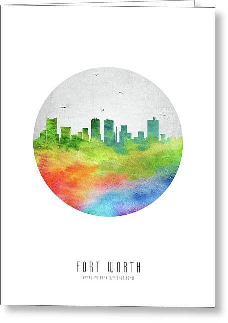 Fort Worth Skyline Ustxfw20 Greeting Card by Aged Pixel