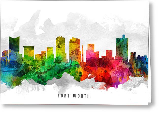 Fort Worth Texas Cityscape 12 Greeting Card by Aged Pixel