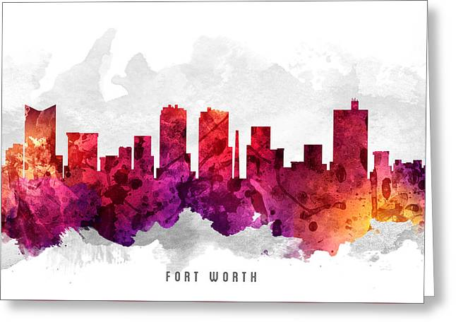 Fort Worth Texas Cityscape 14 Greeting Card by Aged Pixel