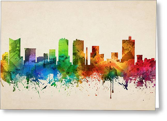 Fort Worth Texas Skyline 05 Greeting Card by Aged Pixel
