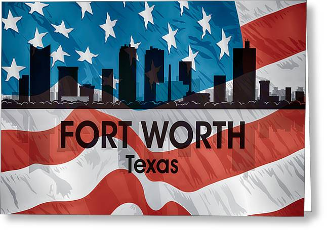 Fort Worth Tx American Flag Squared Greeting Card