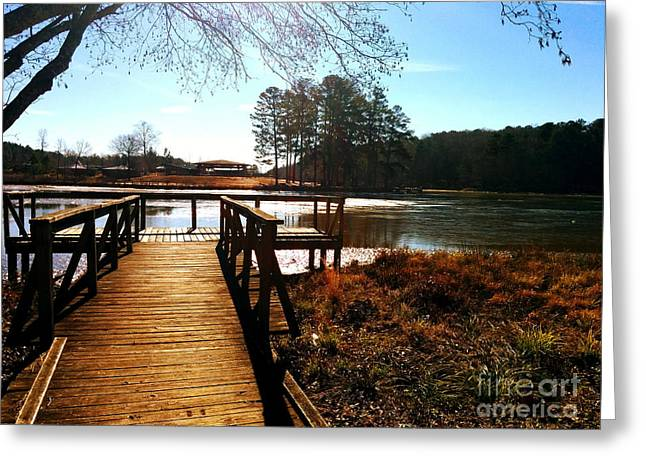 Greeting Card featuring the photograph Fort Yargo Boardwalk by Utopia Concepts