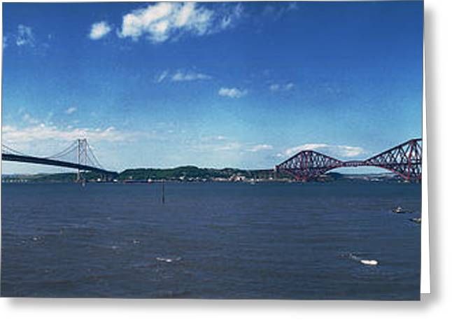 Forth Road And Railway Bridges Greeting Card by Donald Buchanan