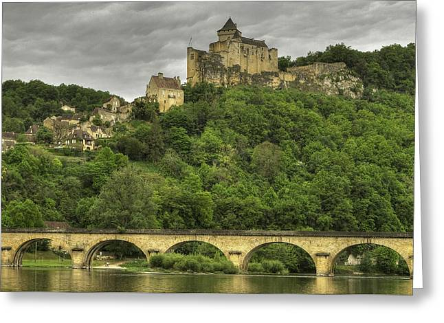 Fortified Castle Of Beynac In Dordogne France Greeting Card by Arabesque Saraswathi