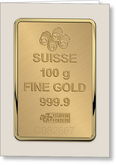 Fortuna Suisse Minted Gold Bar - Reverse Greeting Card