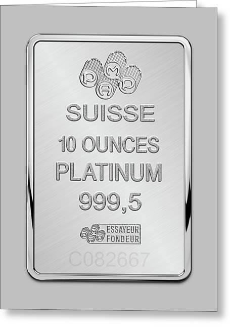 Fortuna Suisse Minted Platinum Bar - Reverse Greeting Card