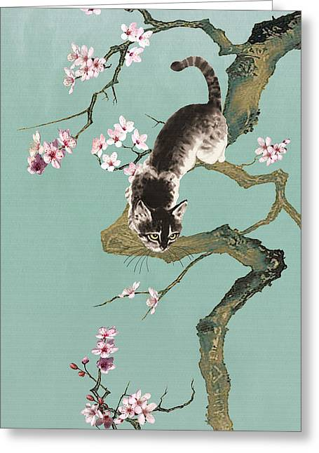 Fortune Cat In Cherry Tree Greeting Card