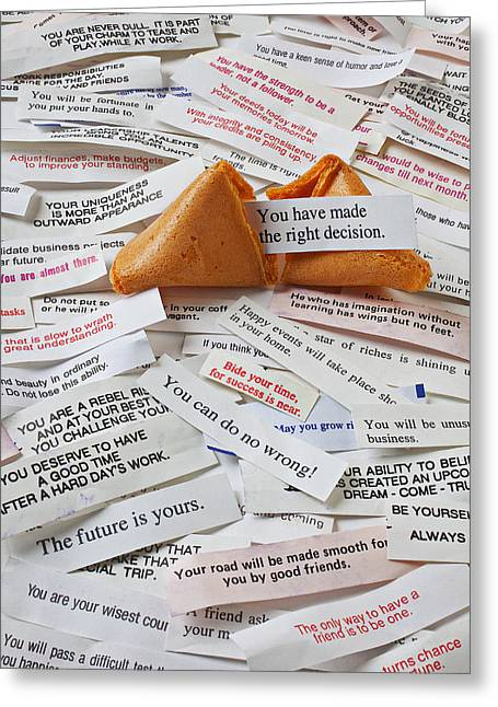 Treat Greeting Cards - Fortune Cookie Sayings  Greeting Card by Garry Gay