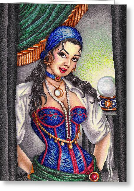 Tassels Drawings Greeting Cards - Fortune Teller Greeting Card by Scarlett Royal