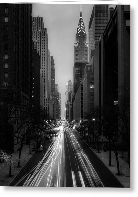 Forty Second Street Noir Greeting Card by Kenneth Laurence Neal