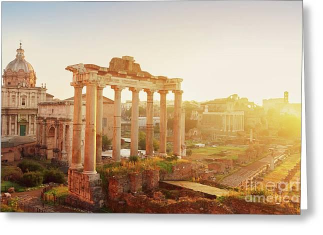 Forum - Roman Ruins In Rome At Sunrise Greeting Card