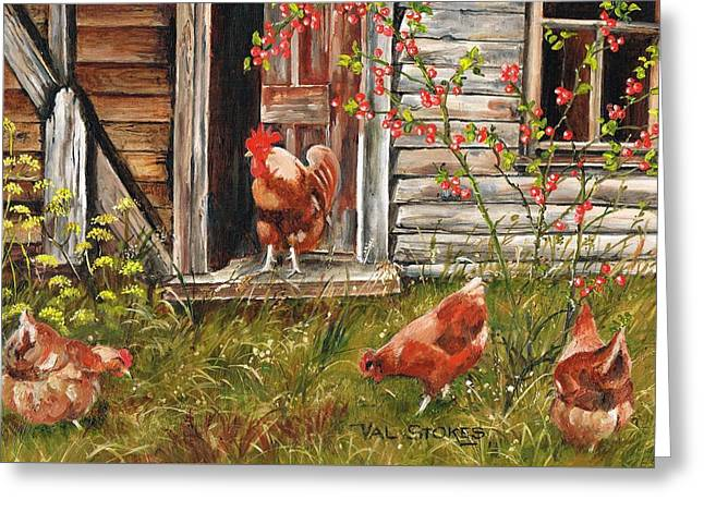 Fossicking Fowls Greeting Card by Val Stokes