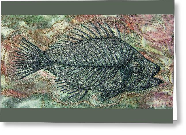 Fossil Fish In Rock Greeting Card