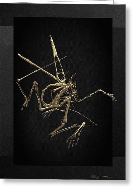 Greeting Card featuring the digital art Fossil Record - Gold Pterodactyl Fossil On Black Canvas #1 by Serge Averbukh