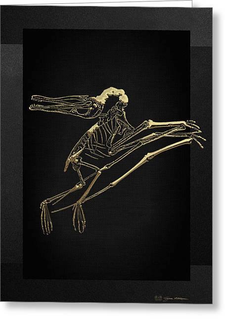 Greeting Card featuring the digital art Fossil Record - Gold Pterodactyl Fossil On Black Canvas #2 by Serge Averbukh