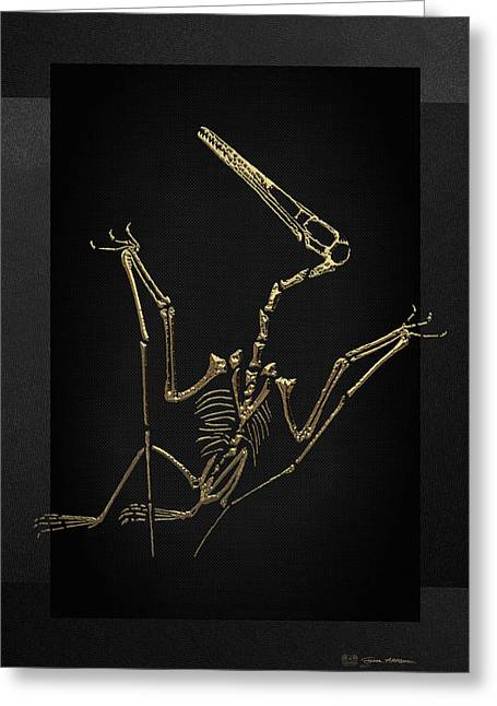 Greeting Card featuring the digital art Fossil Record - Gold Pterodactyl Fossil On Black Canvas #4 by Serge Averbukh