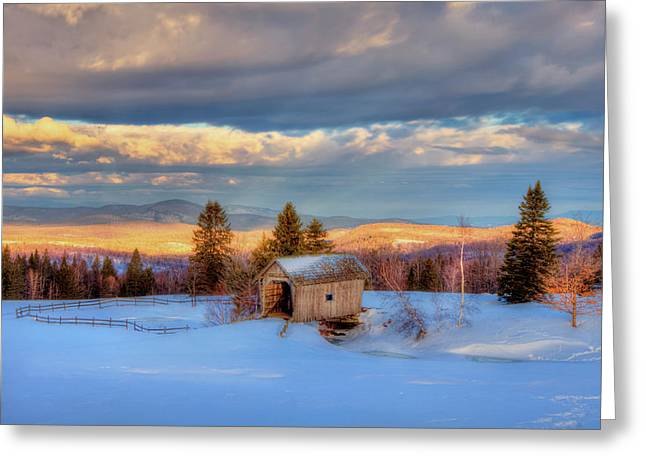 Foster Covered Bridge In Winter - Cabot, Vermont Greeting Card
