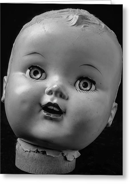 Found Dolls Head Greeting Card by Garry Gay