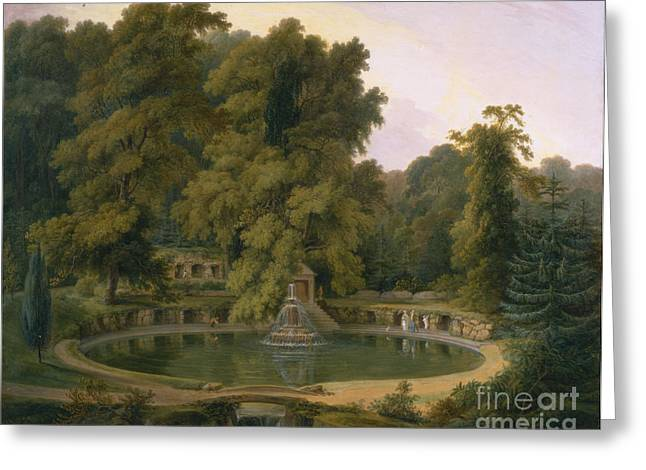 Fountain And Cave In Sezincote Park Greeting Card